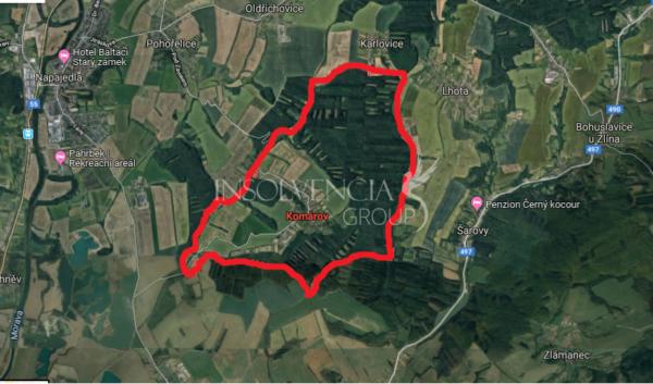 Prodej pozemků o výměře 12 055 m², Komárov, Zlín (PRODÁNO)